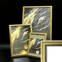 Рамка пластик А6 10*15(2012-543C)золото(60)