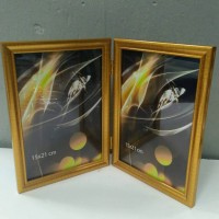 Ф/рамка двойная 1503 2фото10*15 пластик золото(50)