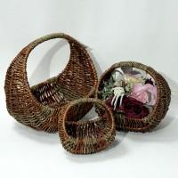 Набор корзин из 3-ох шт плетеных  дерево 39*36*30 (16) LC-34