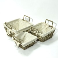 Набор корзин из 3-ох шт металл+рогожка(24)0383-2