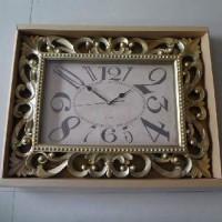 Часы пластик АМПИР настенные, цвет золото, 60*55 см, размер часов 40*26 см, стрелки за стеклом.
