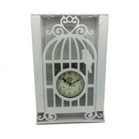 Часы пластик КЛЕТКА настенные, цвет белый 20*40, D 11см, стрелки за стеклом