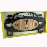 Часы пластик  МАШИНКА настенные,цвет черный, 52*27 см, размер циферблата 32*14 см.стрелки за стеклом