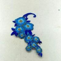 Термонаклейка ЦВЕТЫ голубые 11*4см ТН19