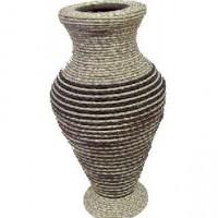 Ваза декоративная плетеная дерево 35см(1/36)09SW-076