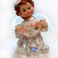 "Фигурка ""Ангел"" полистоун со светодиодами210271G(192)11*6см"