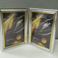 Ф/рамка двойная 1503 2фото10*15 пластик сереб(50)