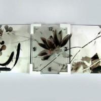 """ЧАСЫ-ПАНО 3в1 МДФ+СТЕКЛО """"МЕЧТА"""" ч/б, настенные,3 пано, размер 35*45см, часы за стеклом."""