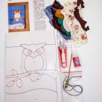 Набор д/творчества D050 18*26 СОВУШКА(плакетка+ткань,пинцет+ножницы)