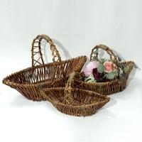 Набор корзин из 3-ох шт плетеных  дерево(8)LC19