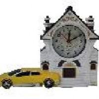 """Часы-будильник """"ДОМ С МАШИНОЙ"""" пластик, микс 22*16*2,5 см, D 6,5 см."""