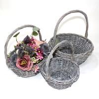 Набор корзин из 3-ох шт плетеных  дерево 34*34*13 (24) LX-4