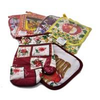 Набор подарочный текстильный из 2-х предметов ( Прихватка+ варежка-прихватка)895-6