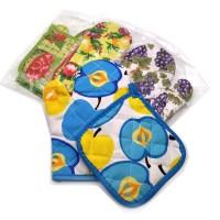 Набор подарочный текстильный из 2-х предметов ( варежки+прихватка)895-3