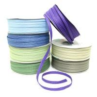 Упаковочная тесьма текстиль   шир 0,5 см, дл.50 м 2357-13  6 цветов