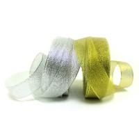 Лента металлизиров шир 2,5см, дл.25ярд 913 золото/серебро