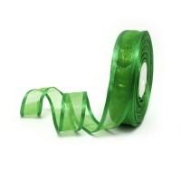 Лента из органзы шир 2,5см, дл.25ярд 1019  зеленая