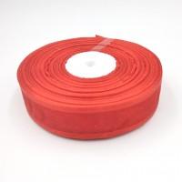 Лента из органзы шир 2,5см, дл.25ярд 1026  красная
